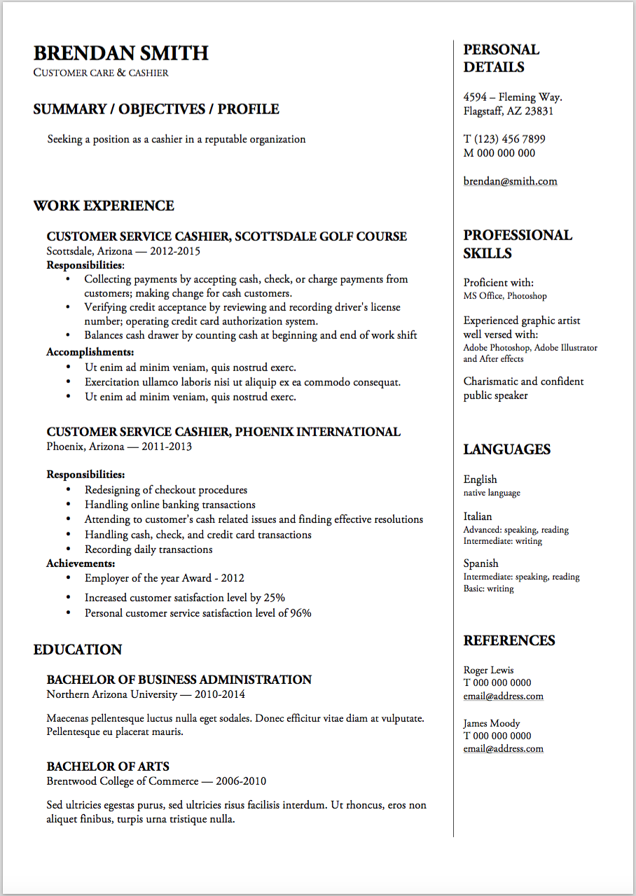 cashier sample resume