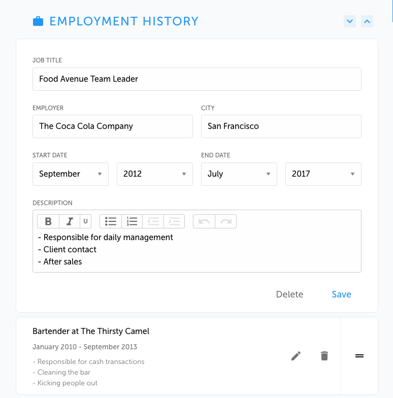 Show how to fill in employment history on resume.io