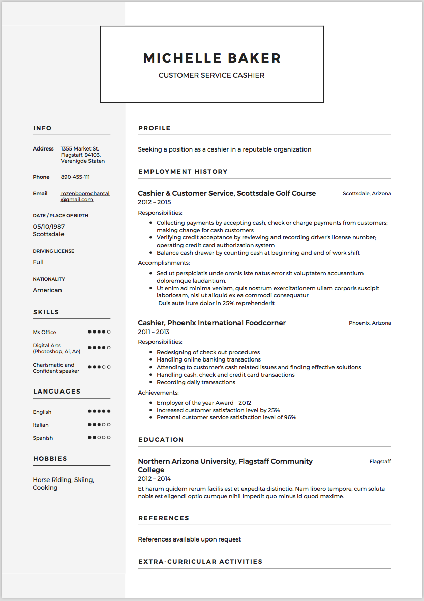 ... Cashier Resume Creative; Cashier Resume Sample Formal