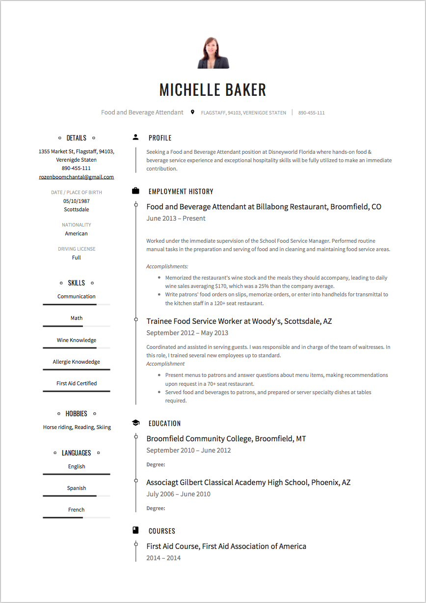 Food and beverage attendant sample resume