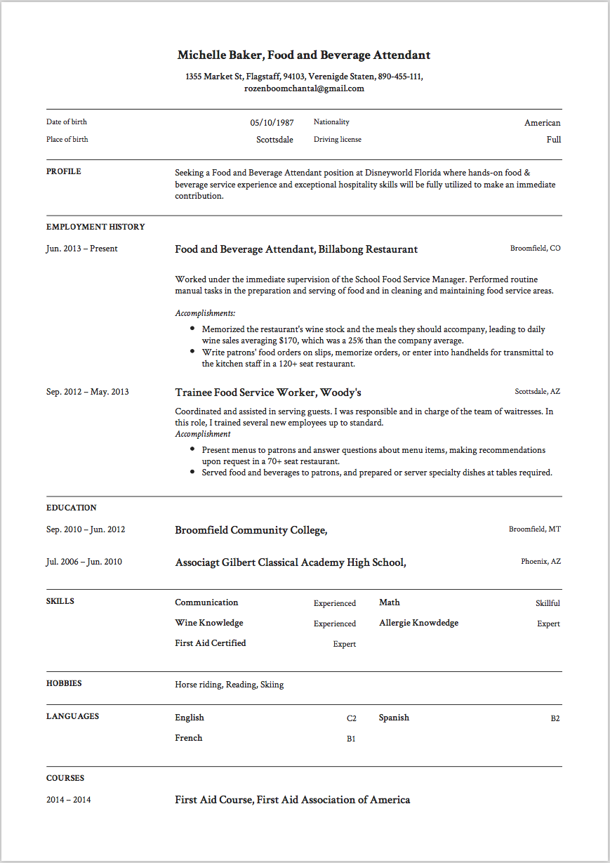resume Director Of Food And Beverage Resume 7 food and beverage attendant resume samples resumeviking com sample 3