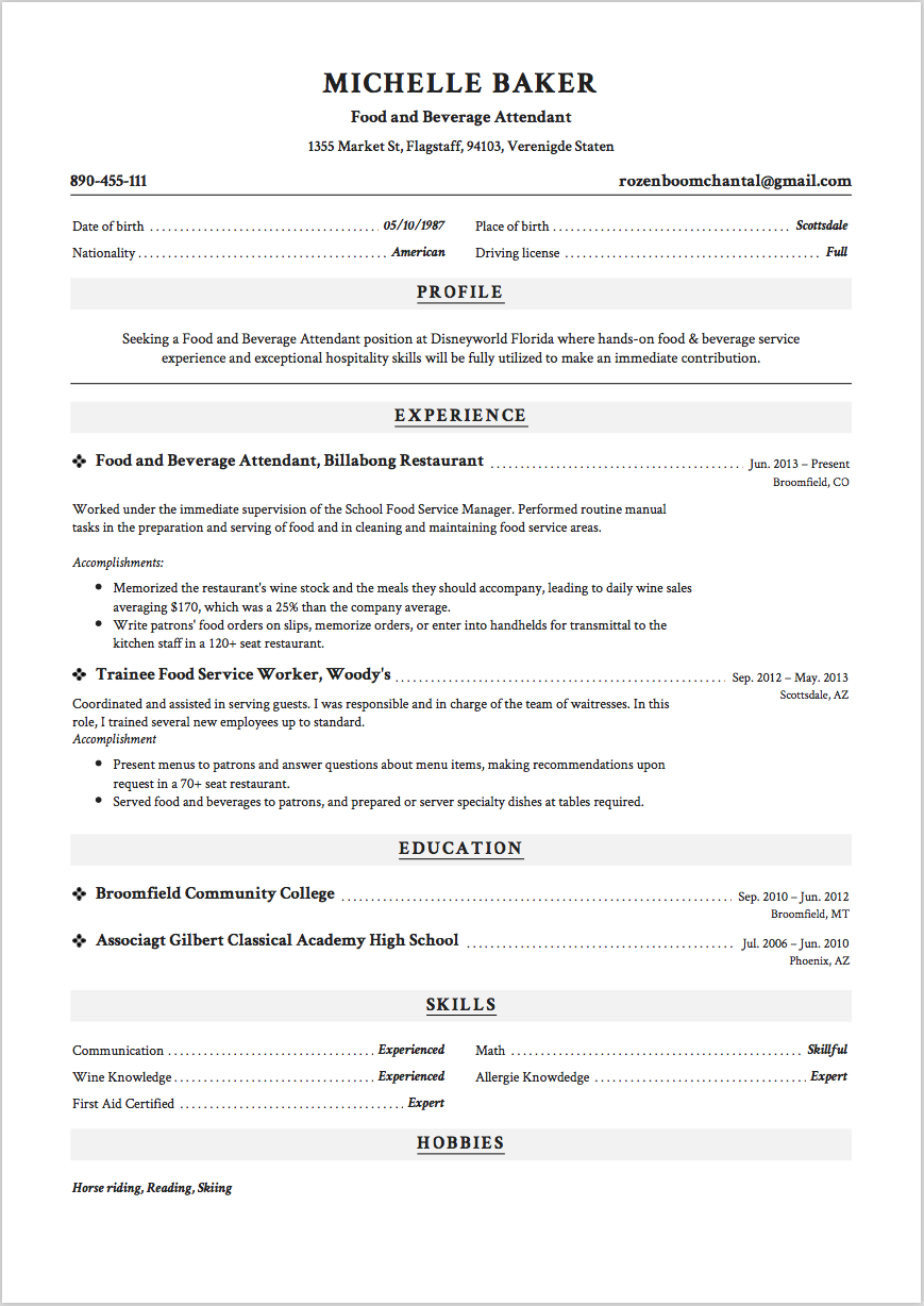 7 food and beverage attendant resume samples