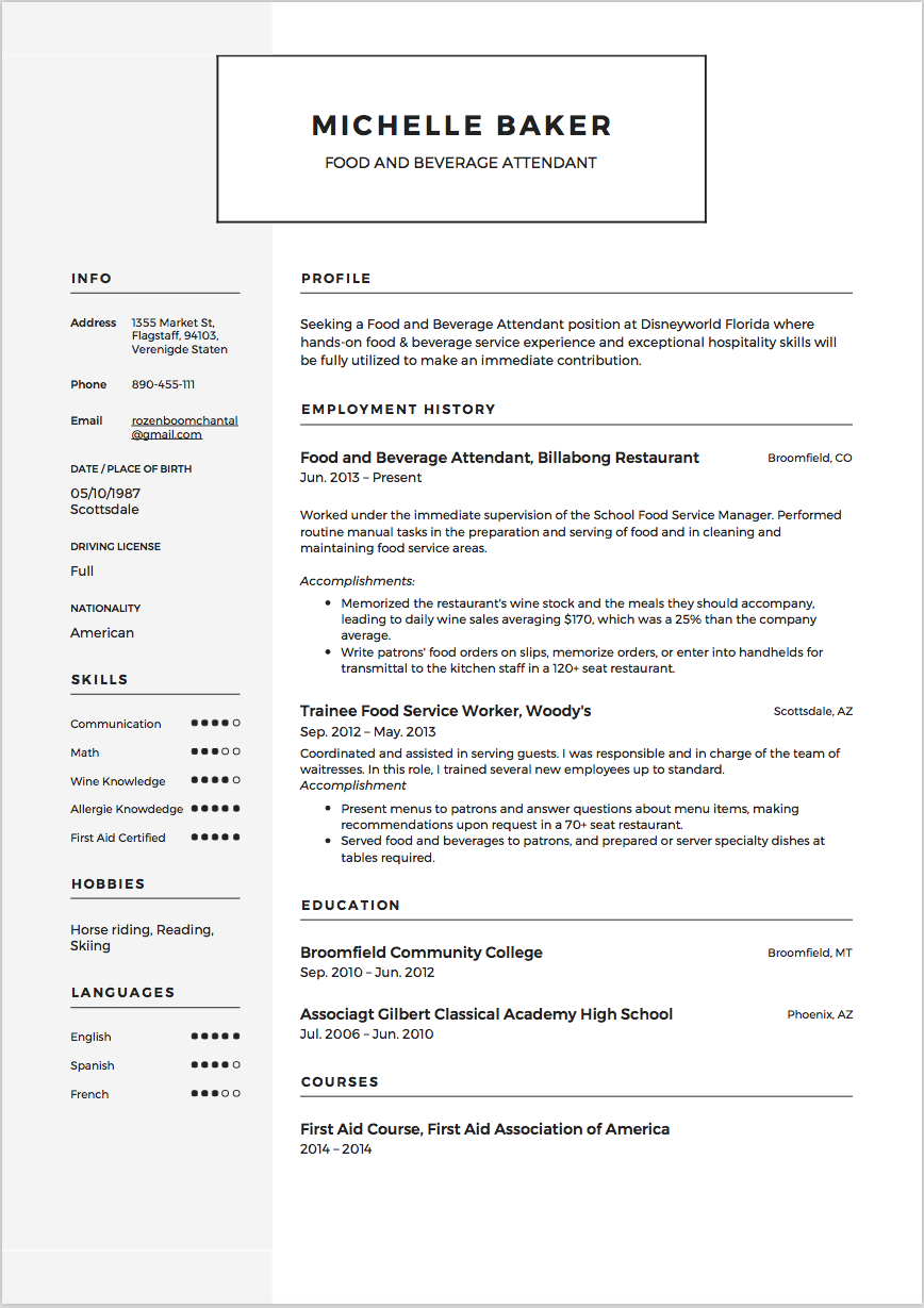 Food Attendant Resume sample