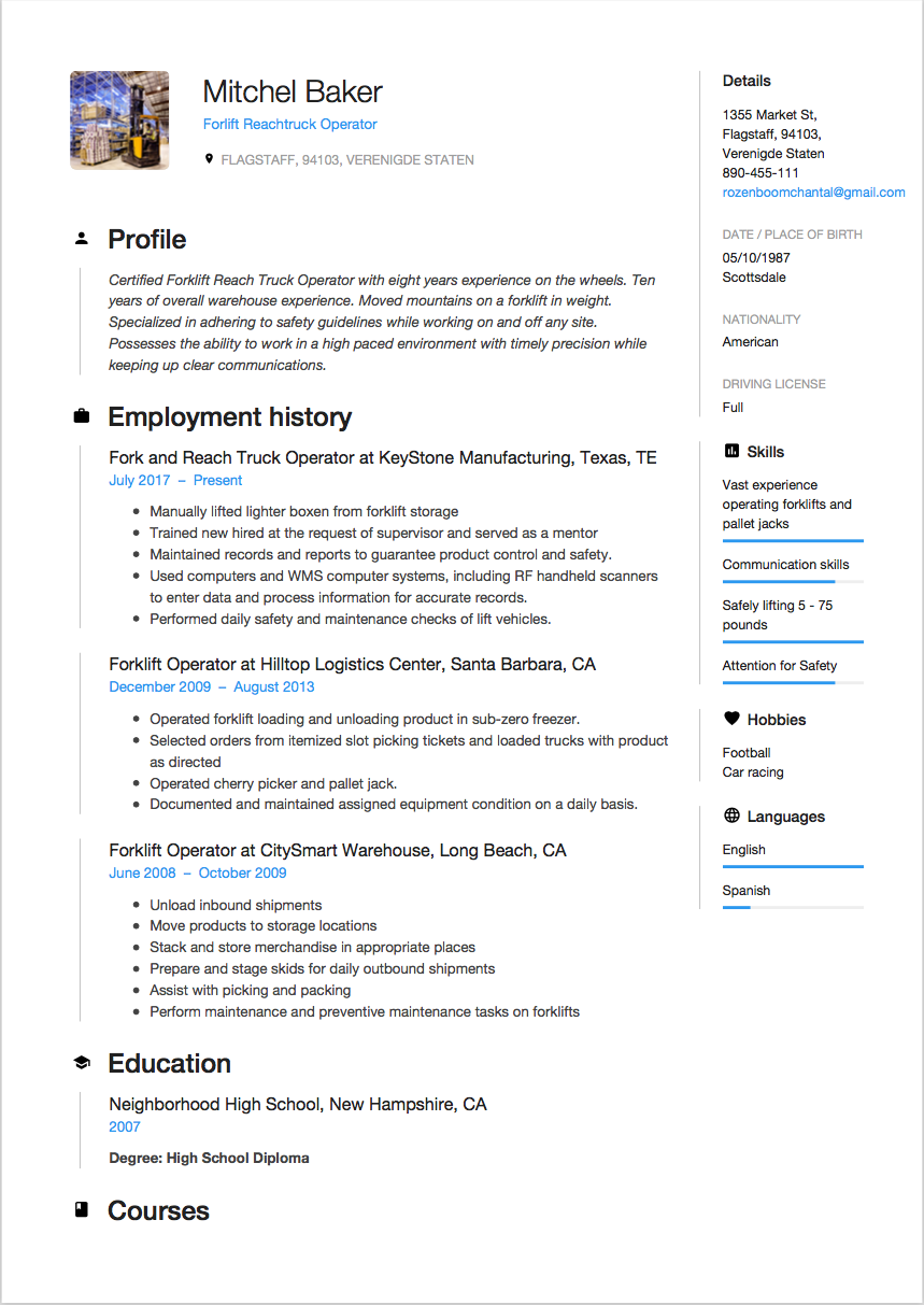 example reverse chronological resume format - Chronological Format Resume