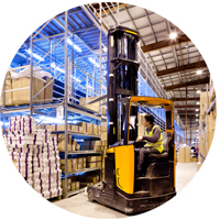 Photo of a forklift reach truck operator