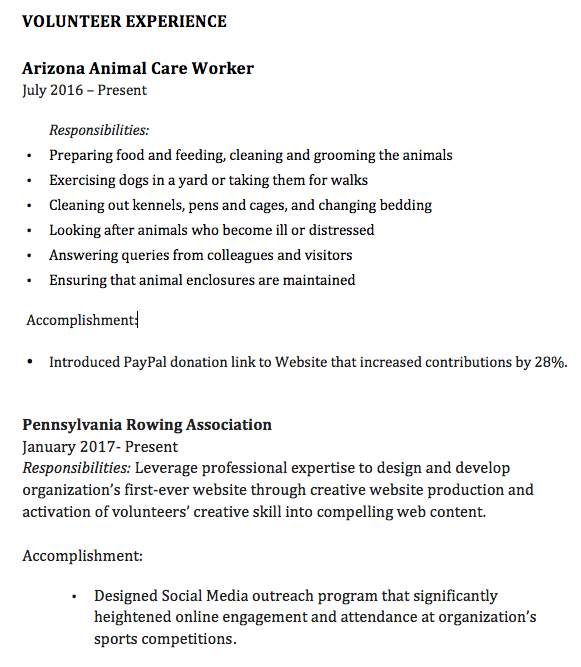 volunteer work resume sample