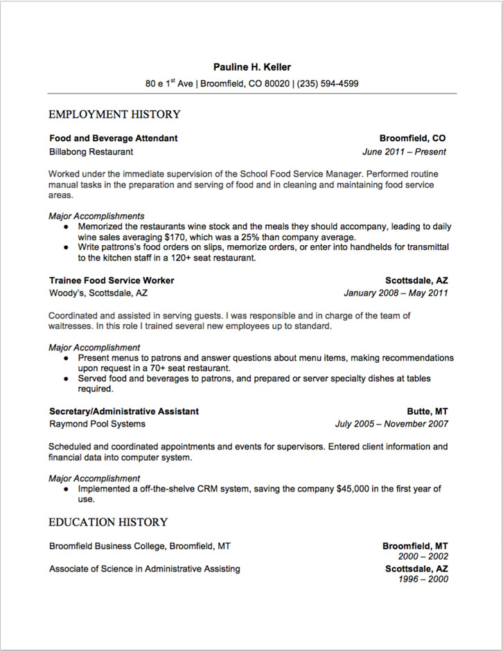 food and beverage attendant resume sample