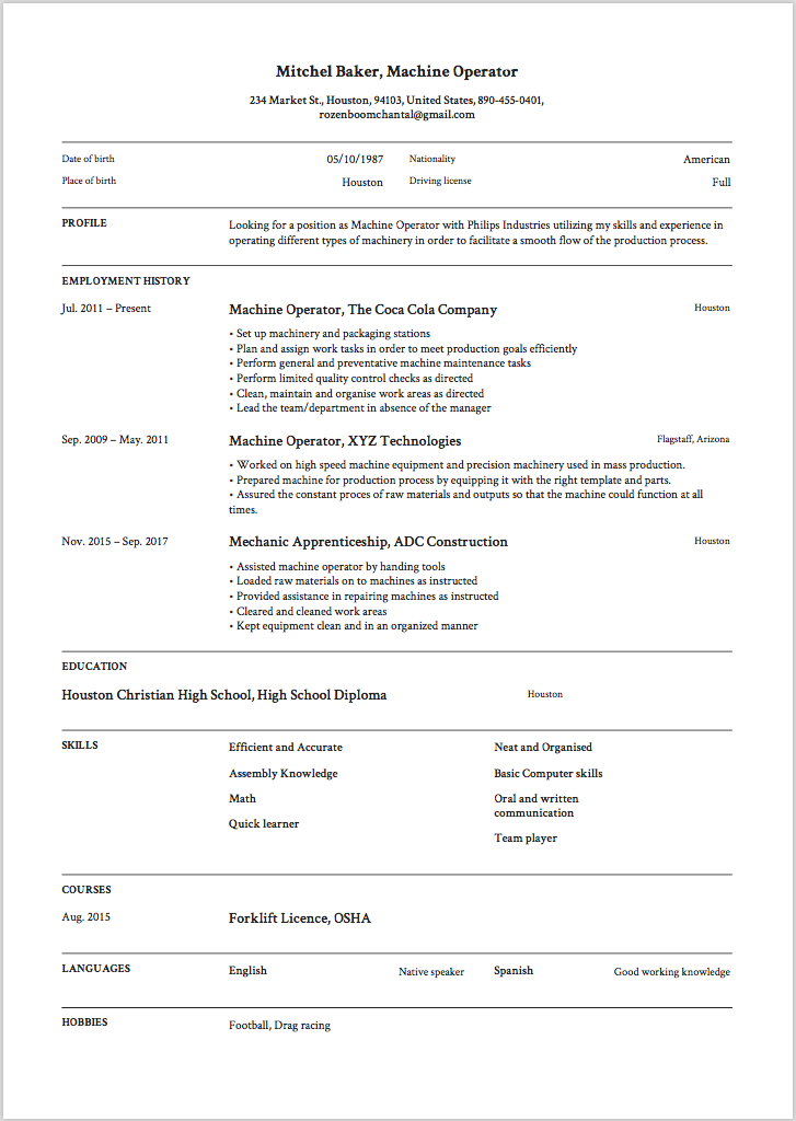 6 machine operator resume sample s 2018 free downloads