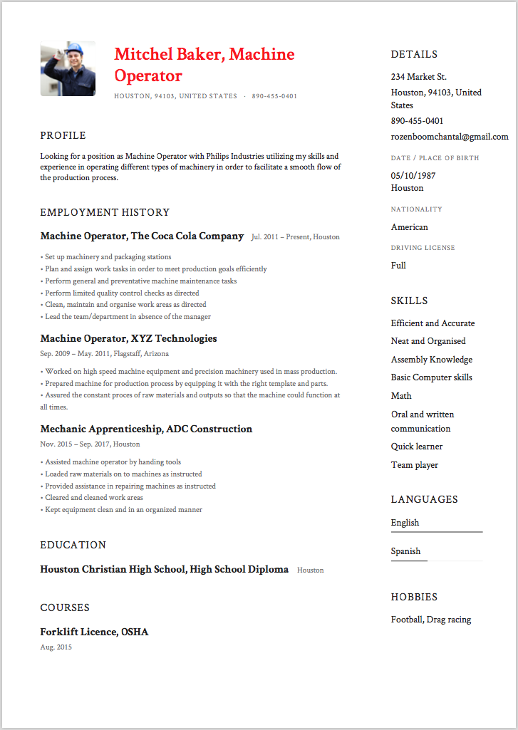 sample resume for machine operator resume templates certified