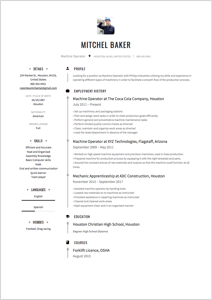 6 x machine operator resume sample