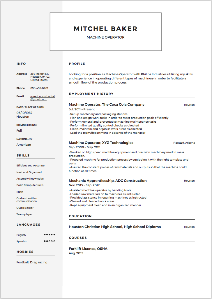 6 x machine operator resume sample resumeviking com
