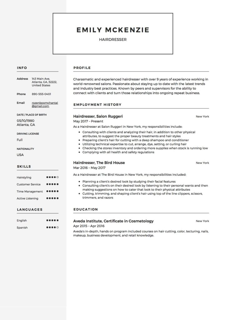 resume sample hairdresser