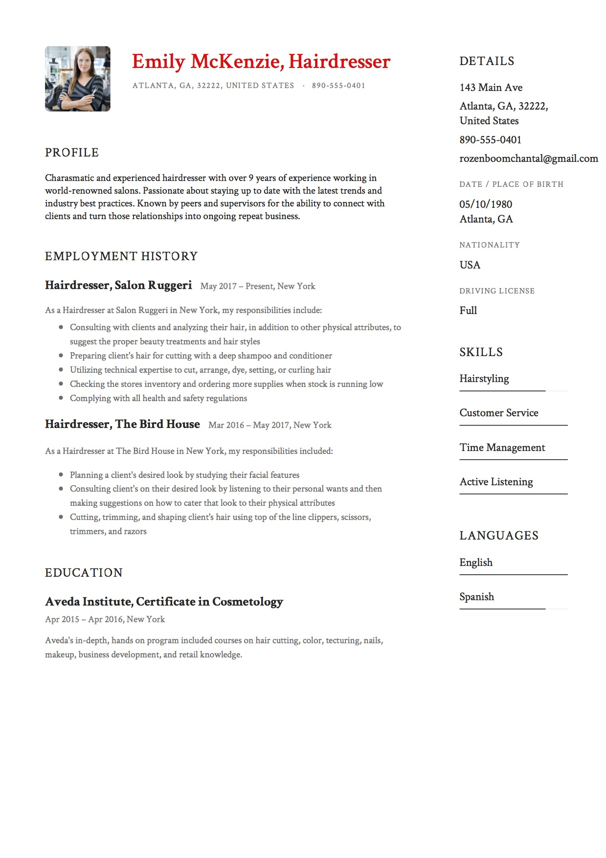 sample resume hairdresser