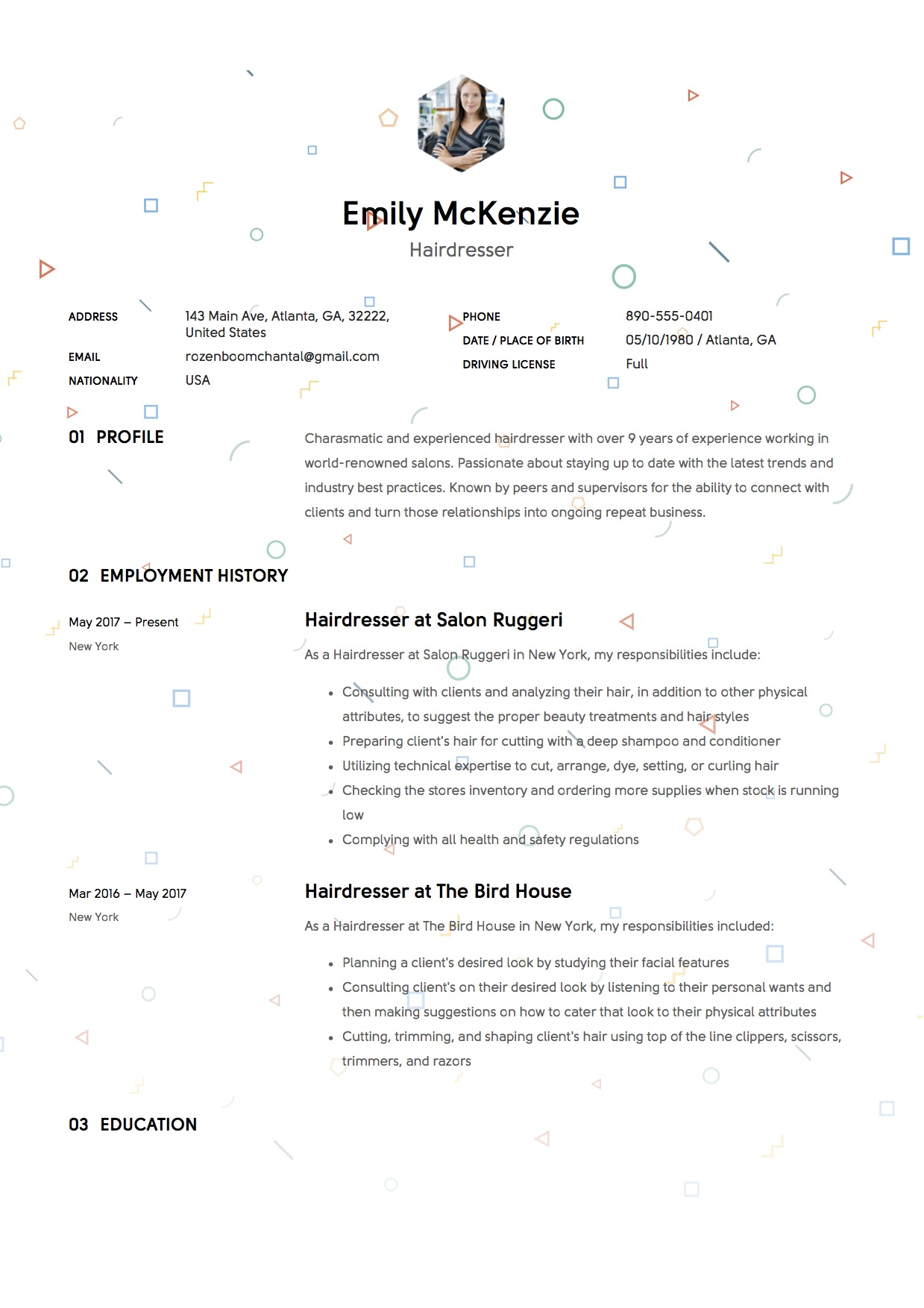 Hairdresser resume example