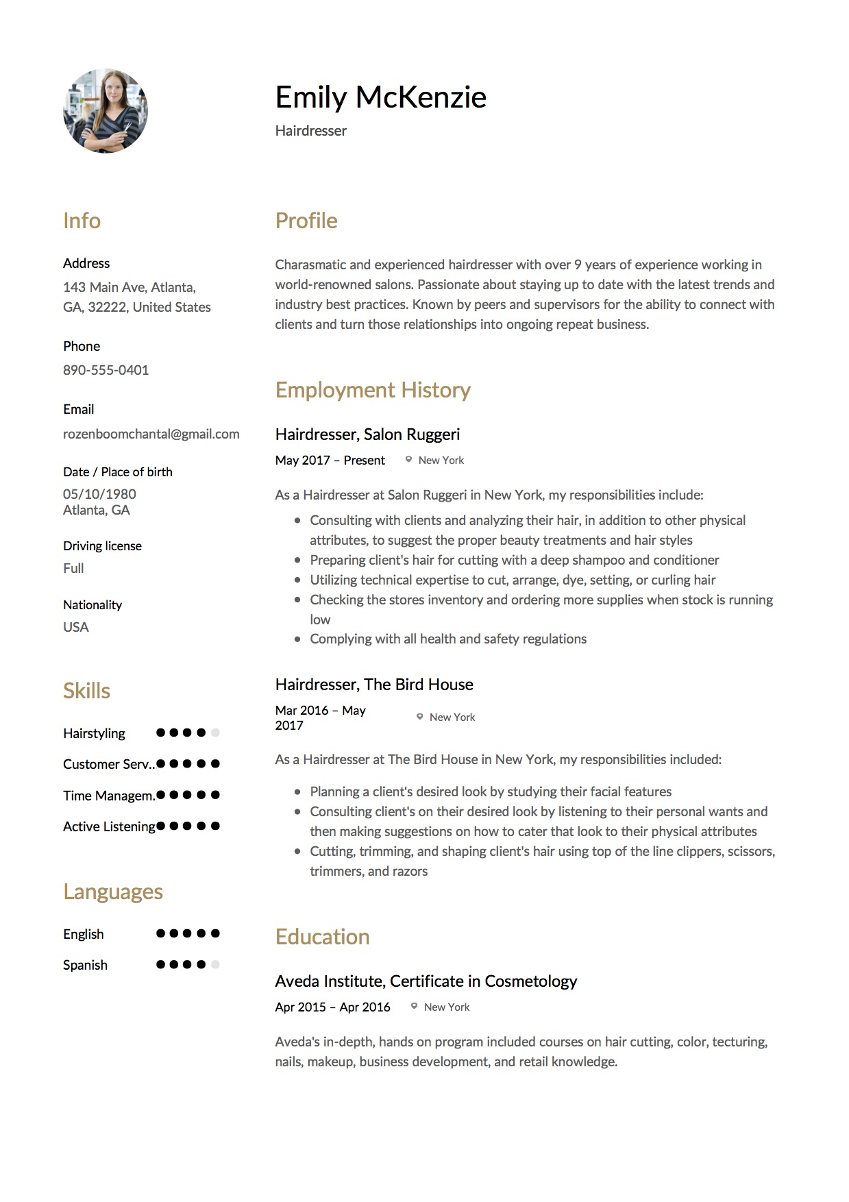 Full Guide Hairdresser Resume 12 Samples