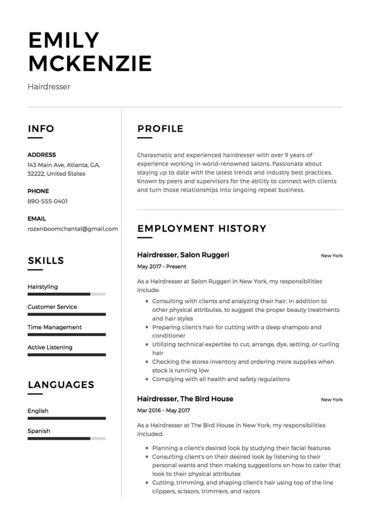 Hairdresser resume sample