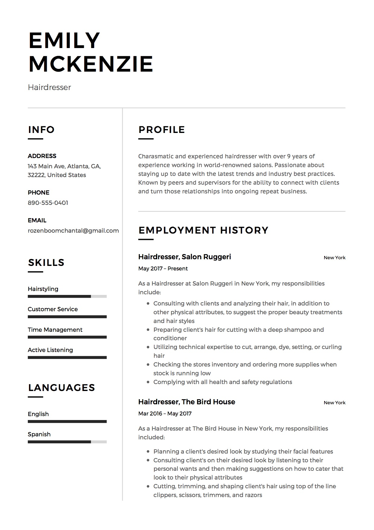 12 Free Hairdresser Resume Samples Different Designs