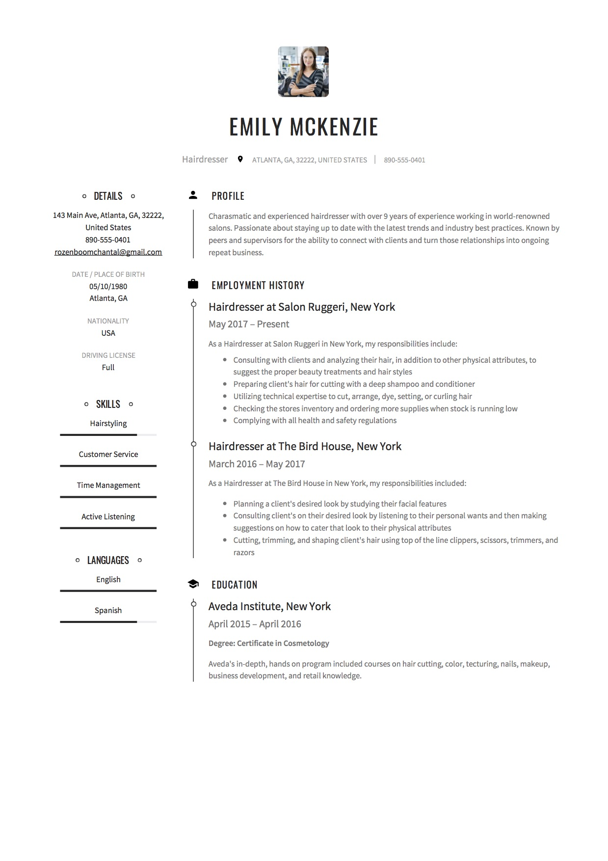 12 free hairdresser resume sample s 2018 free downloads