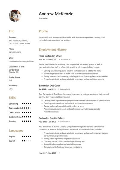 bartender resume    12 samples