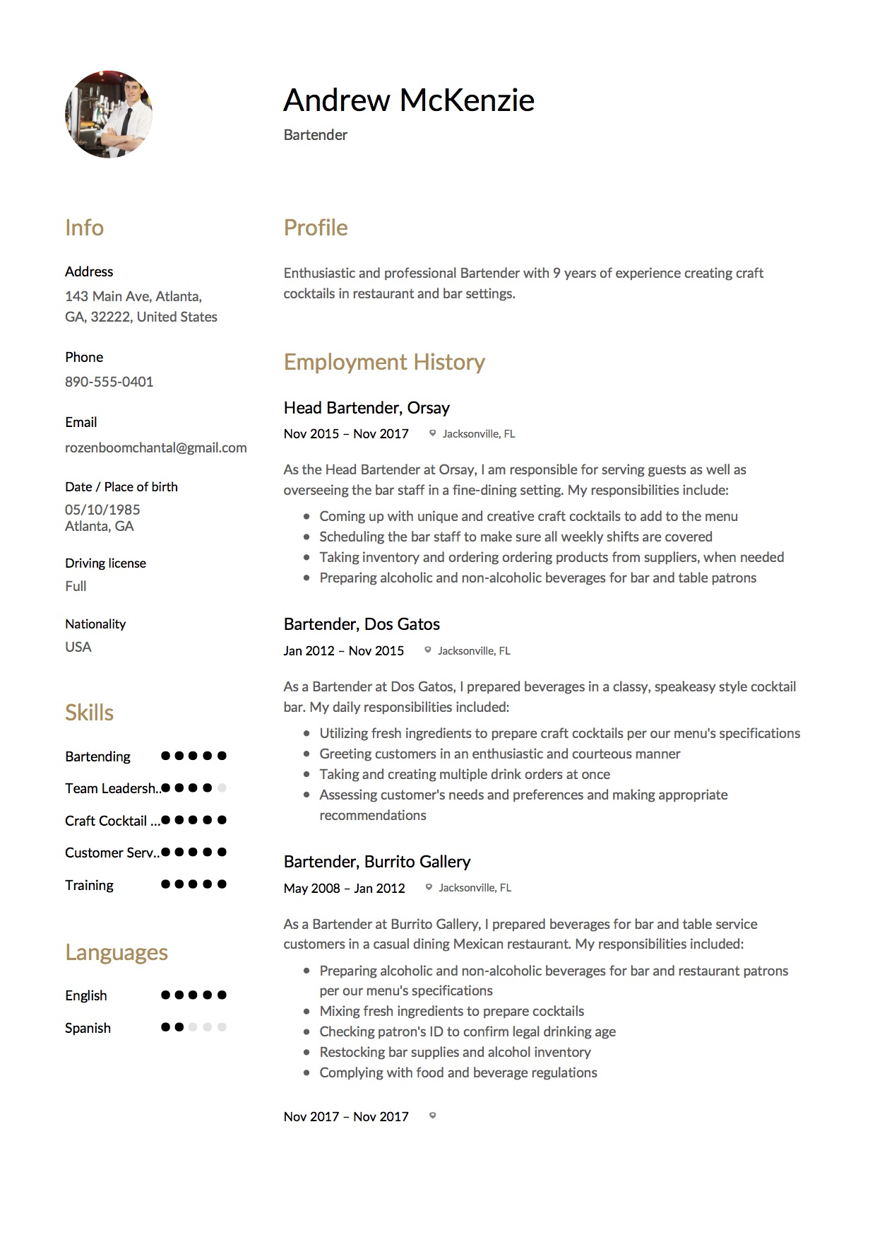Bartender Sample Resume  Bartender Description For Resume