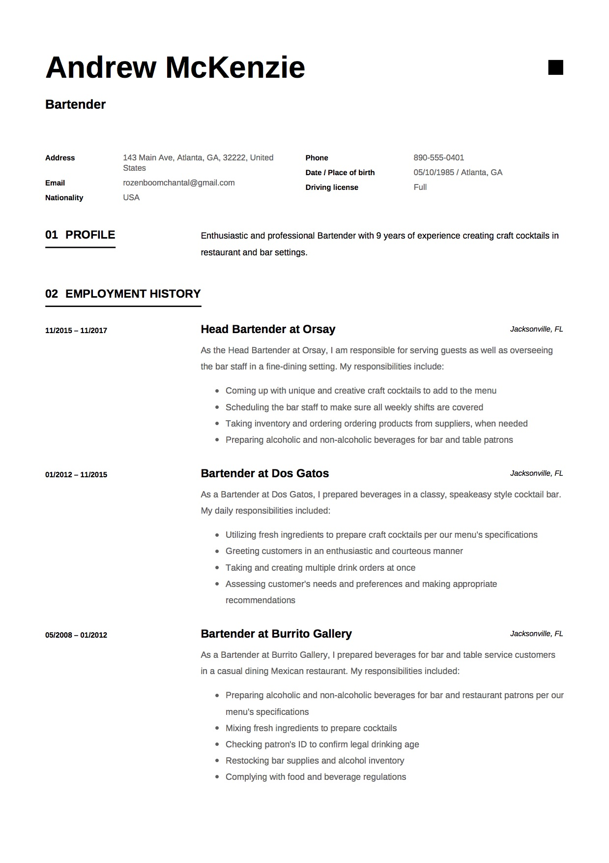 Craft Cocktail Resume