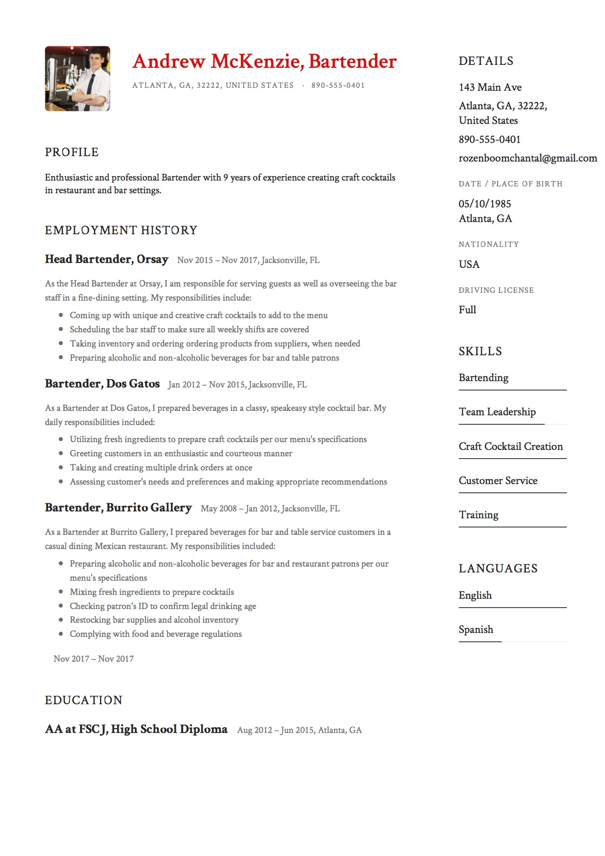 Bartender Resume [+ 12 Samples] | 2019 | Free PDF & Word