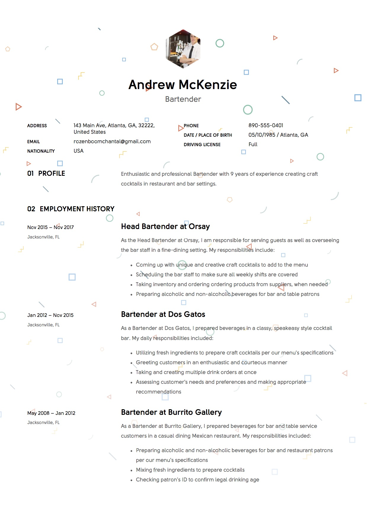Wonderful Bartender Resume Sample