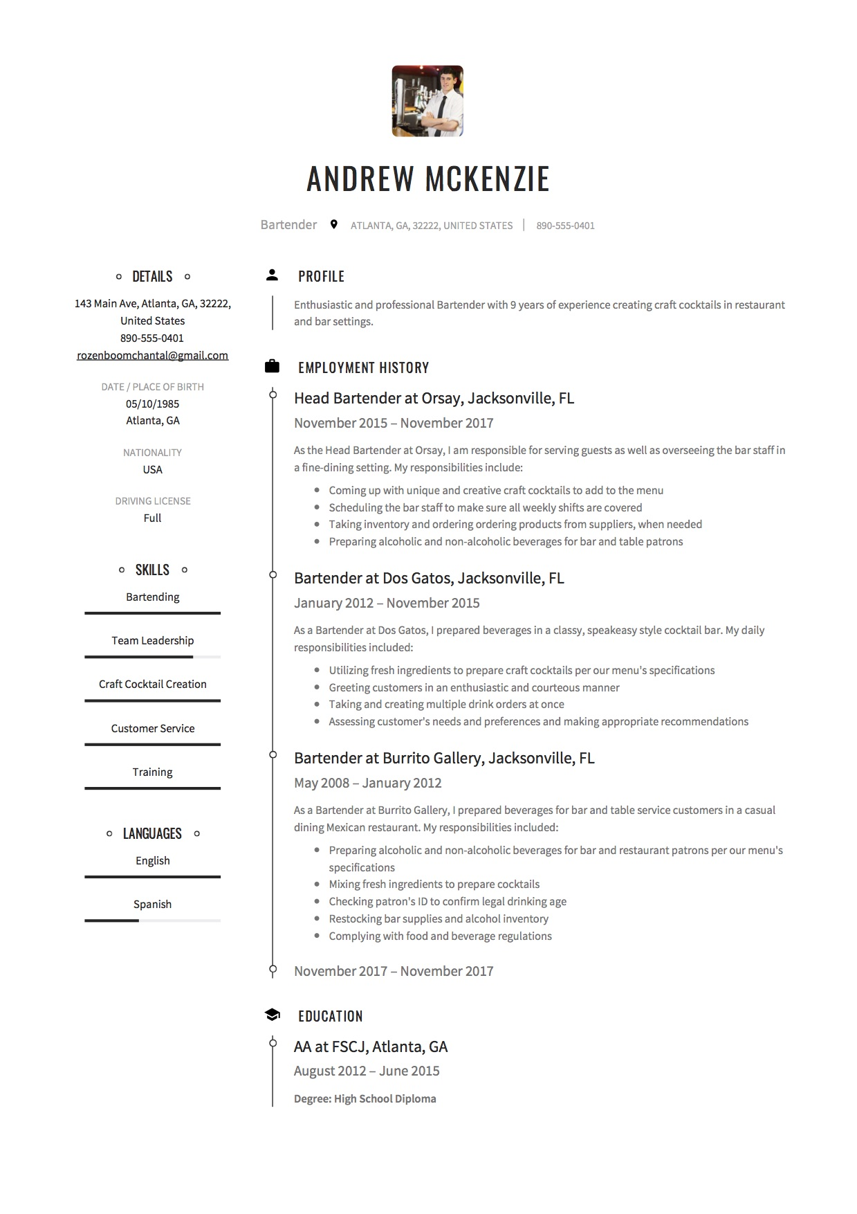 beaufiful bartender resume description images gallery   nice impressive bartender resume sample