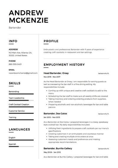 Bartender Resume Sample