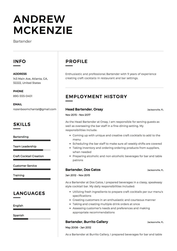 Resume examples 2012