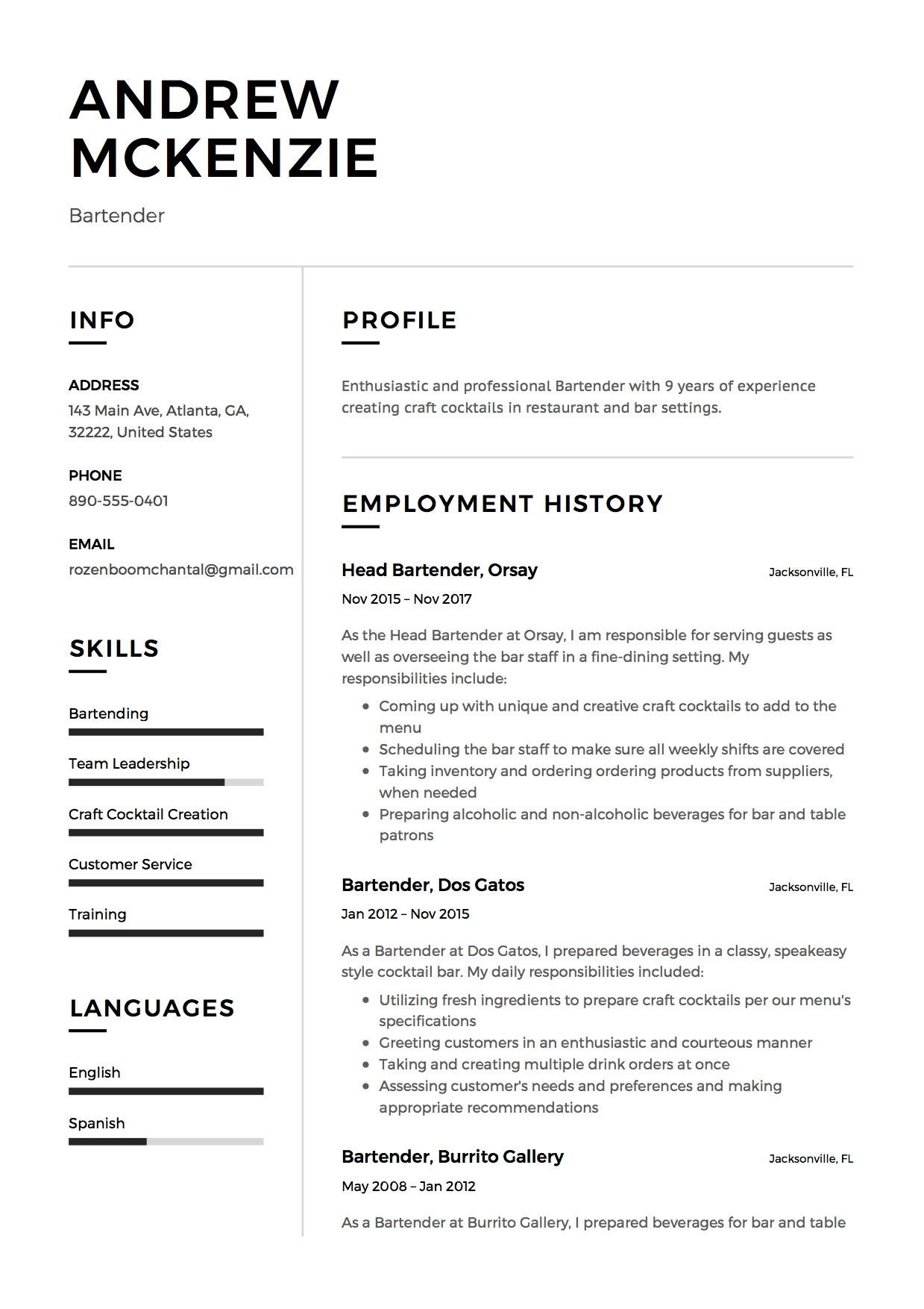 Bartender Resume Sample  Resume Examples For Bartender