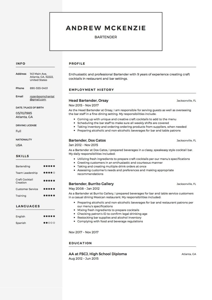 Free Bartender Resume Samples  Different Designs
