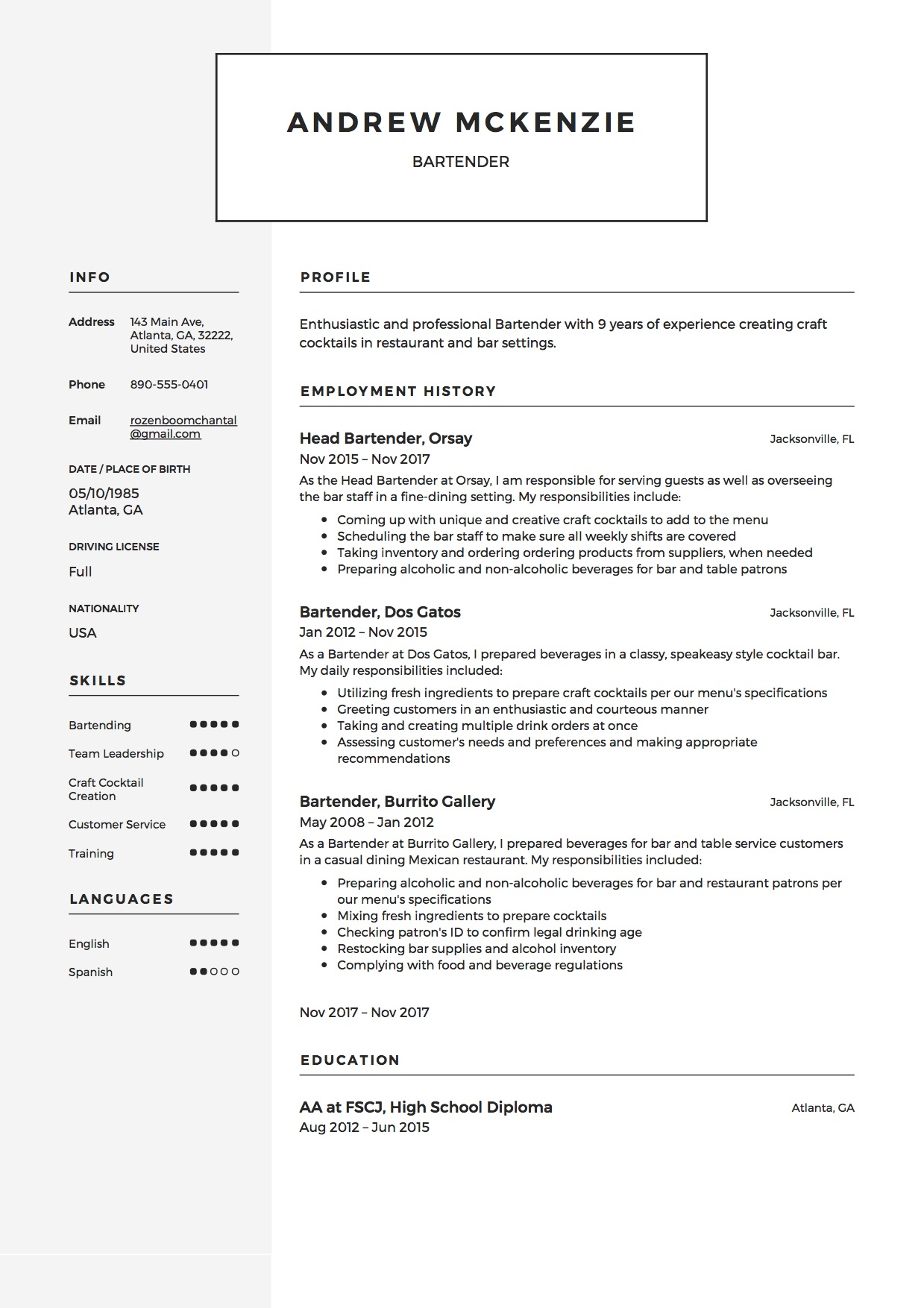 Bartender Resume [+ 12 Samples] | 2019 | Free PDF & Word ...