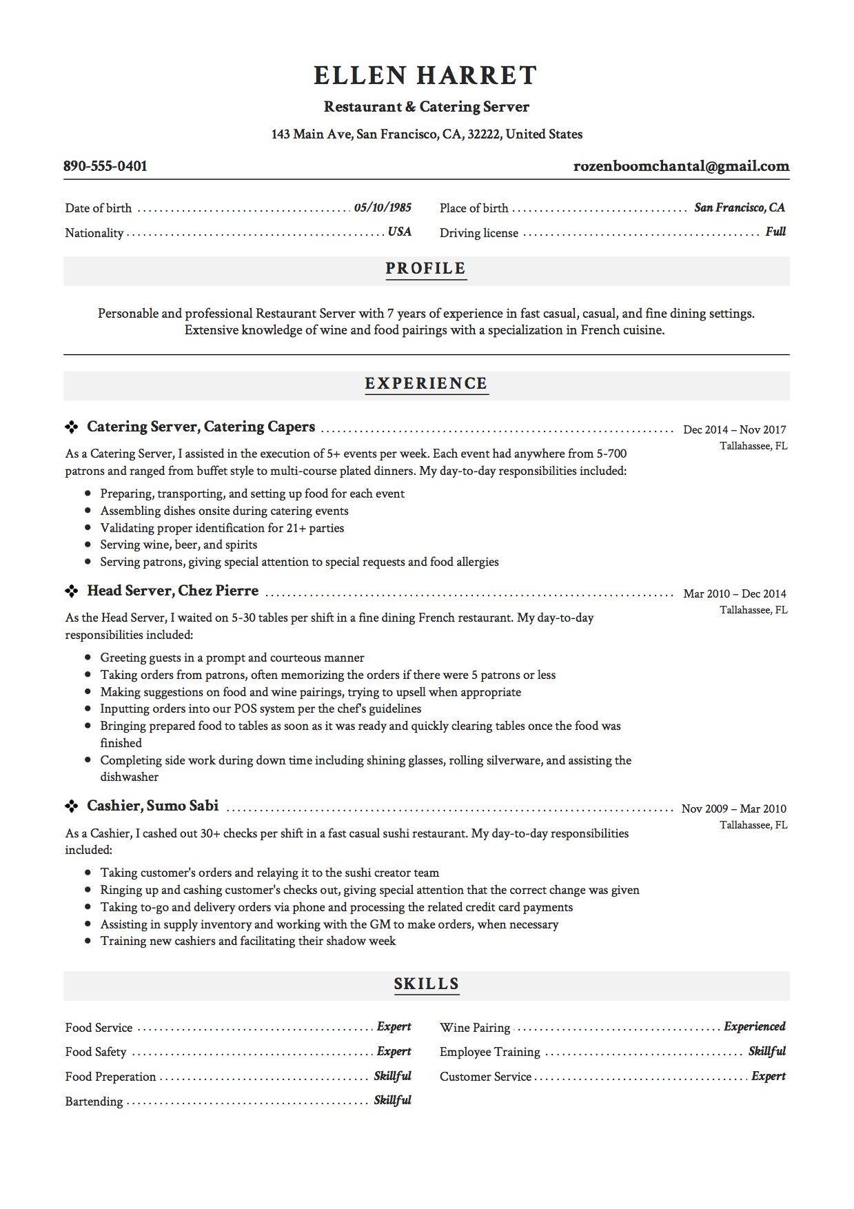 Resume Example Catering Server Sample Restaurant