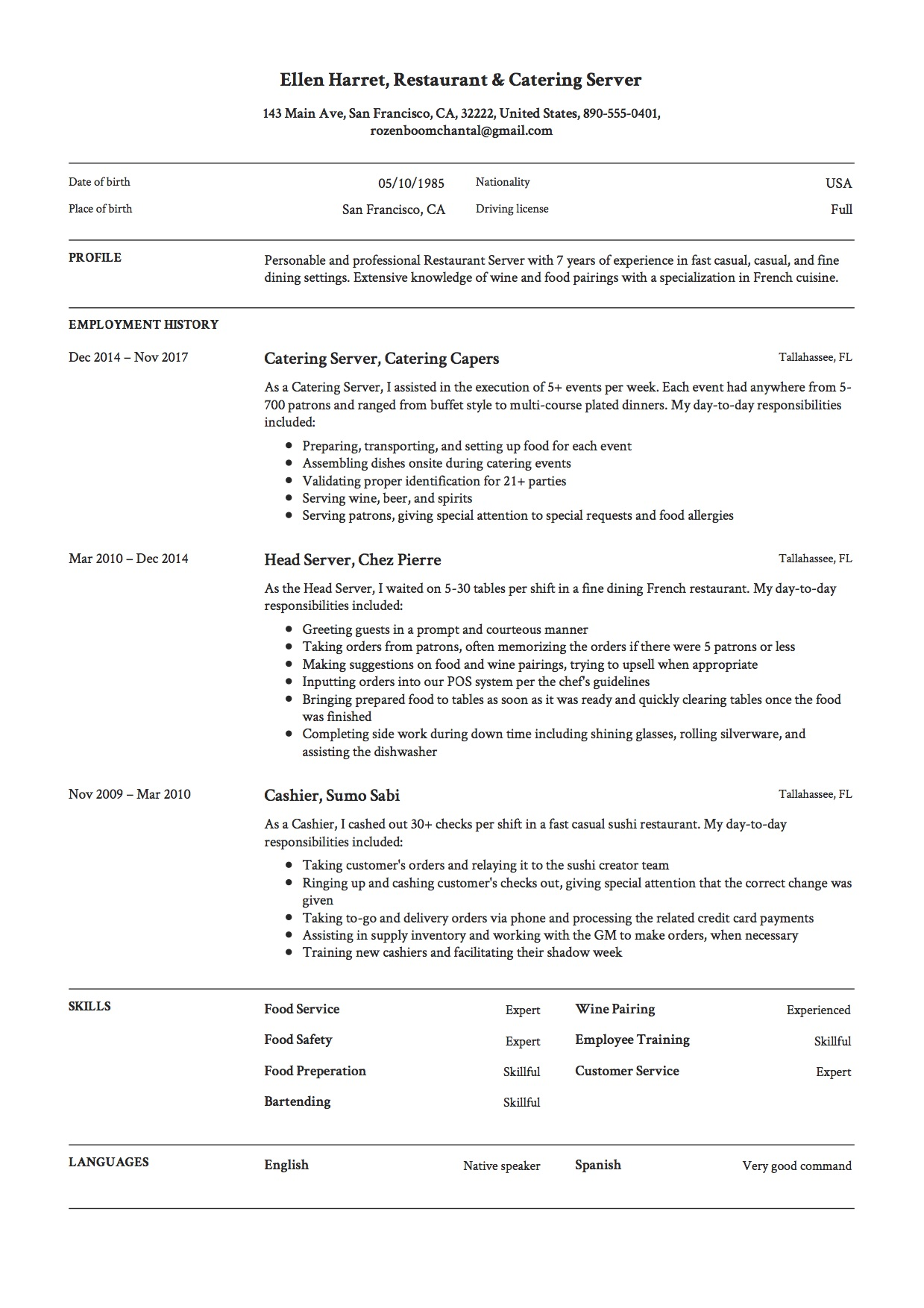 Resume Sample Restaurant Catering Server Esume Example
