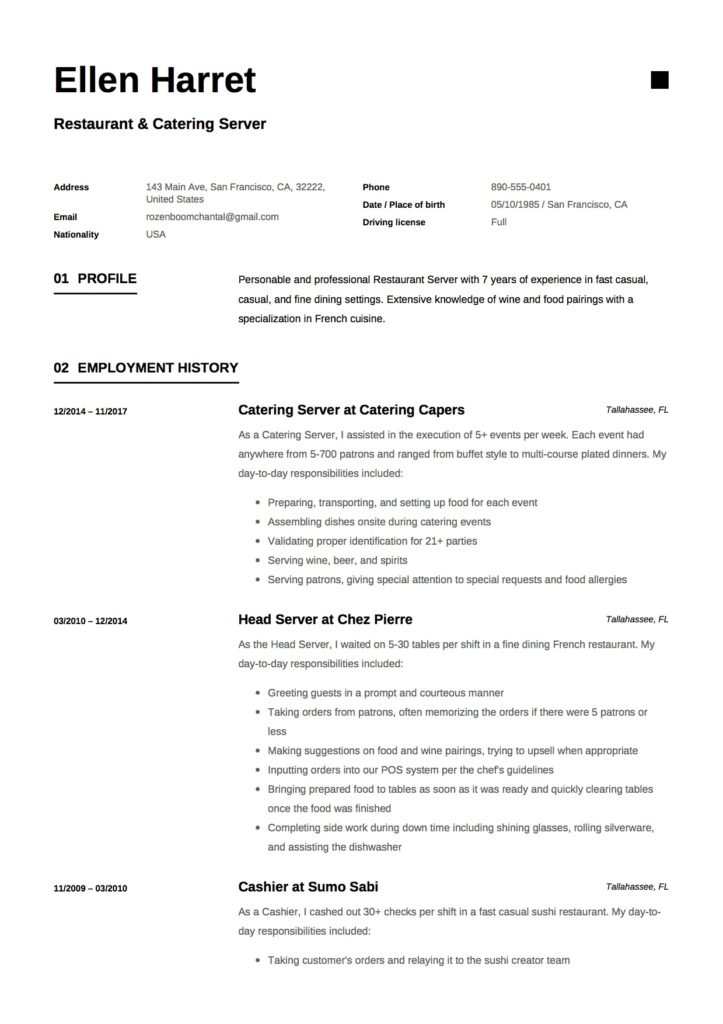 Resume - Restaurant & Catering Server