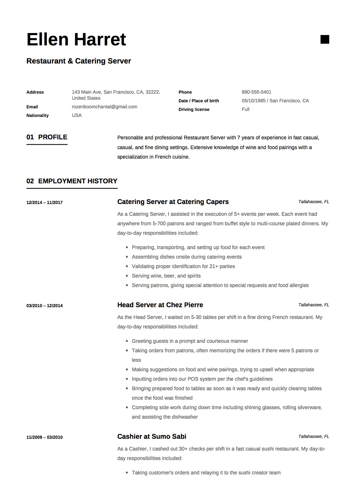 Resume   Restaurant U0026 Catering Server  Catering Server Resume