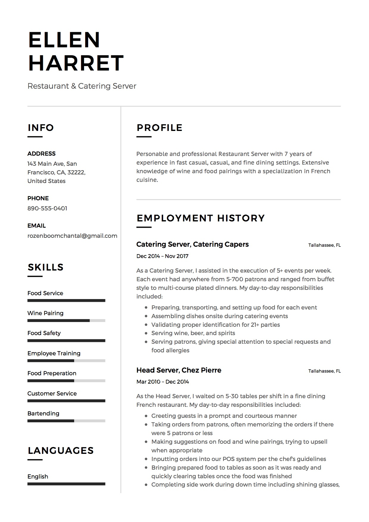 Restaurant Server Resume Sample | 12 Creative Resume Examples 2018