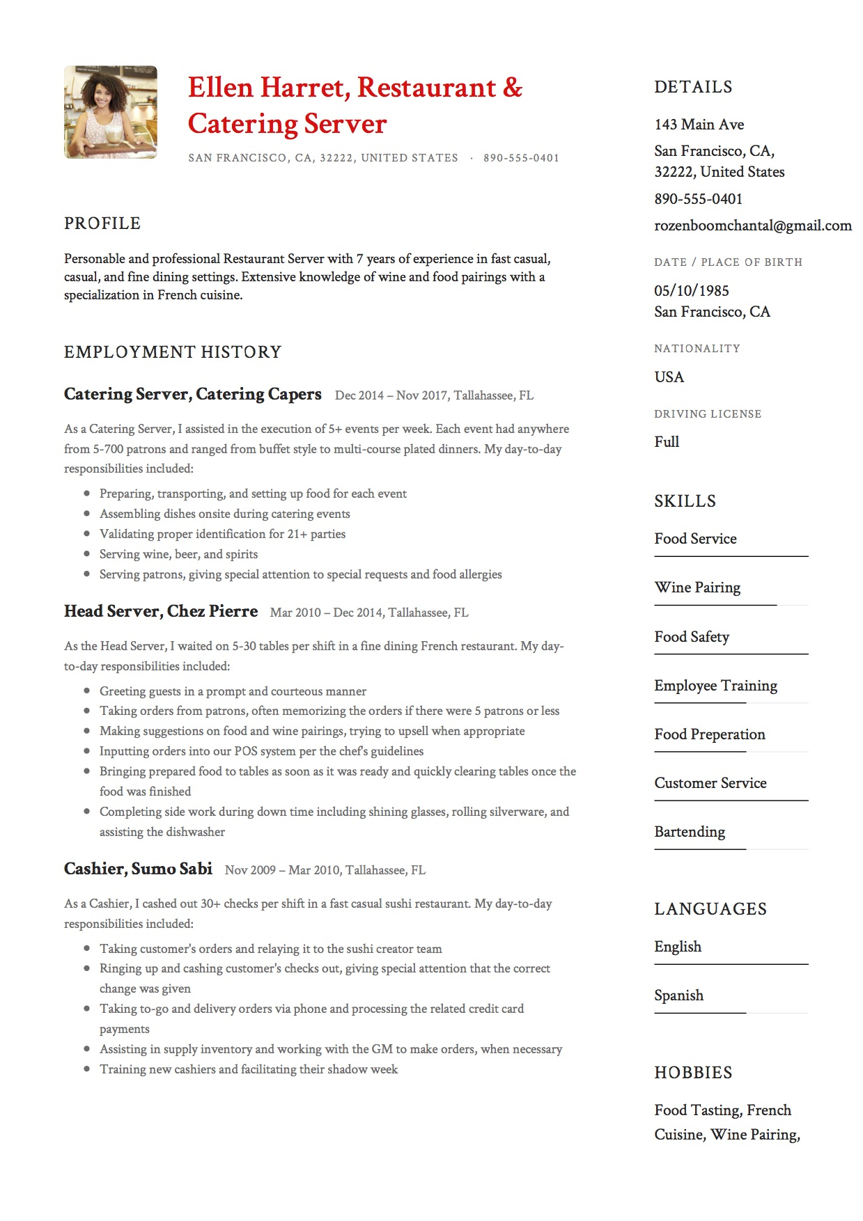 Resume Sample Catering Server  Catering Server Resume