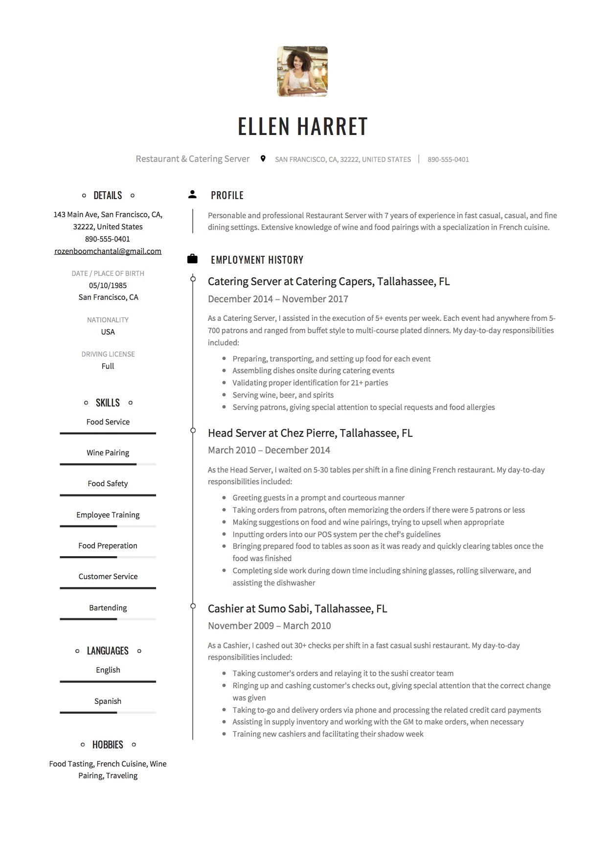 Resume Sample Restaurant Catering Server