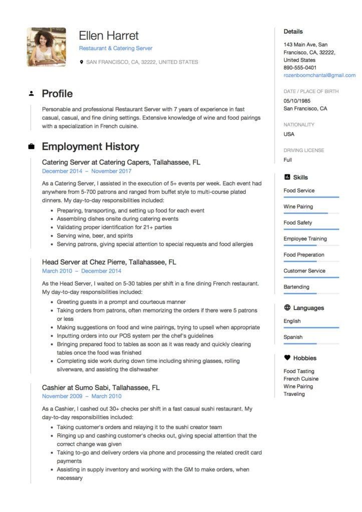 resume sample for server