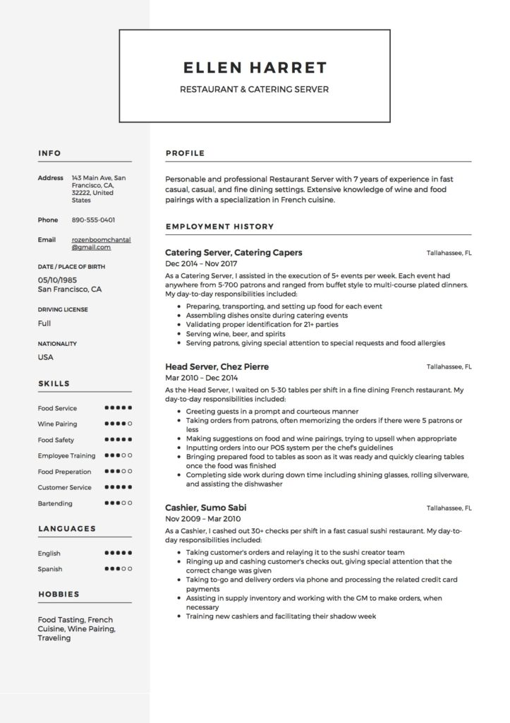 12 restaurant server resume sample s