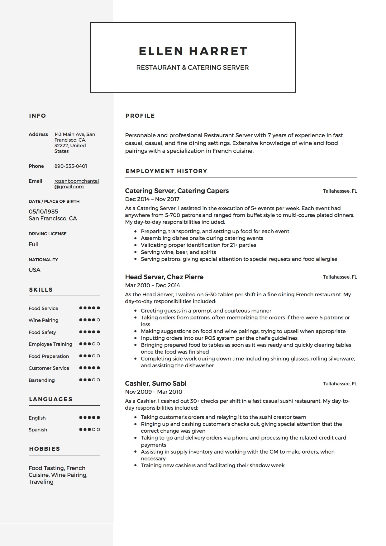Restaurant Server Resume Samples Sample Catering