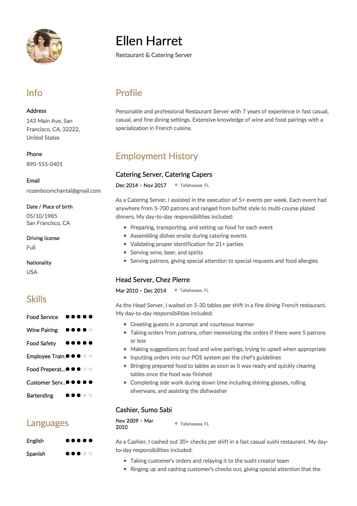 Sample Resume Catering Server