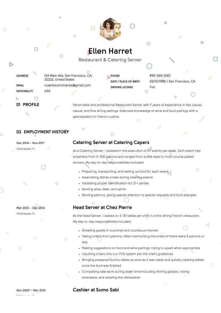 Sample Resume Restaurant Server
