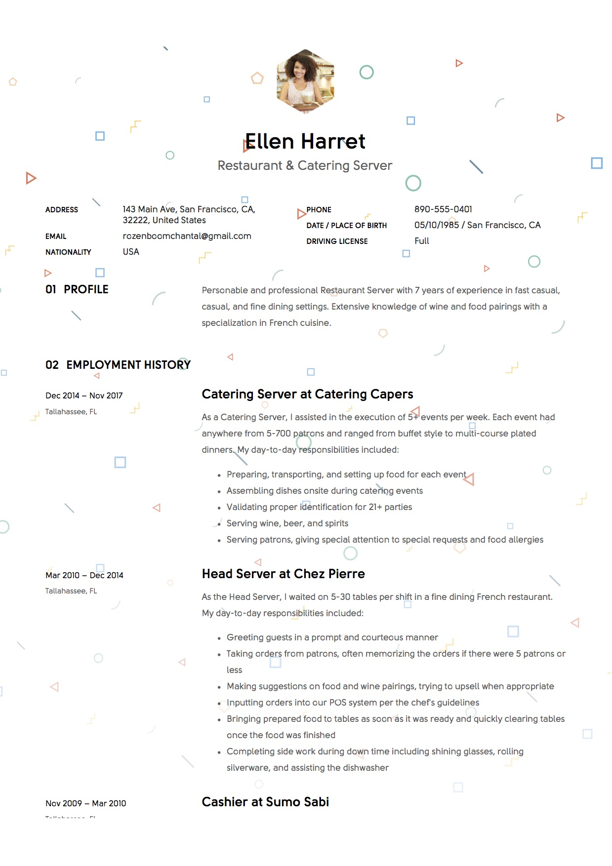 sample resume restaurant