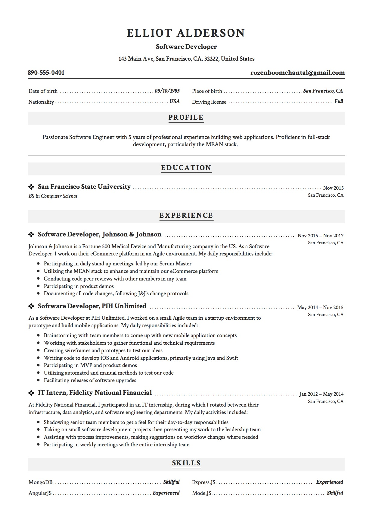 elliot alderson resume sample software developer - Angularjs Developer Resume