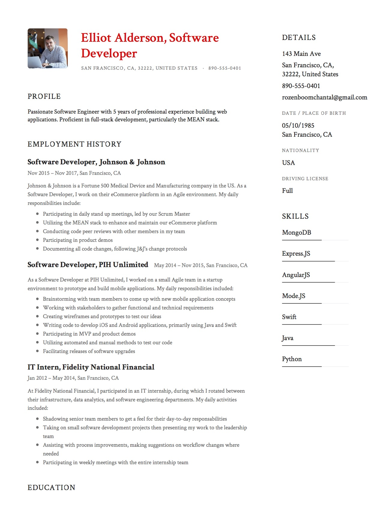 Resume Example Software Developer 5