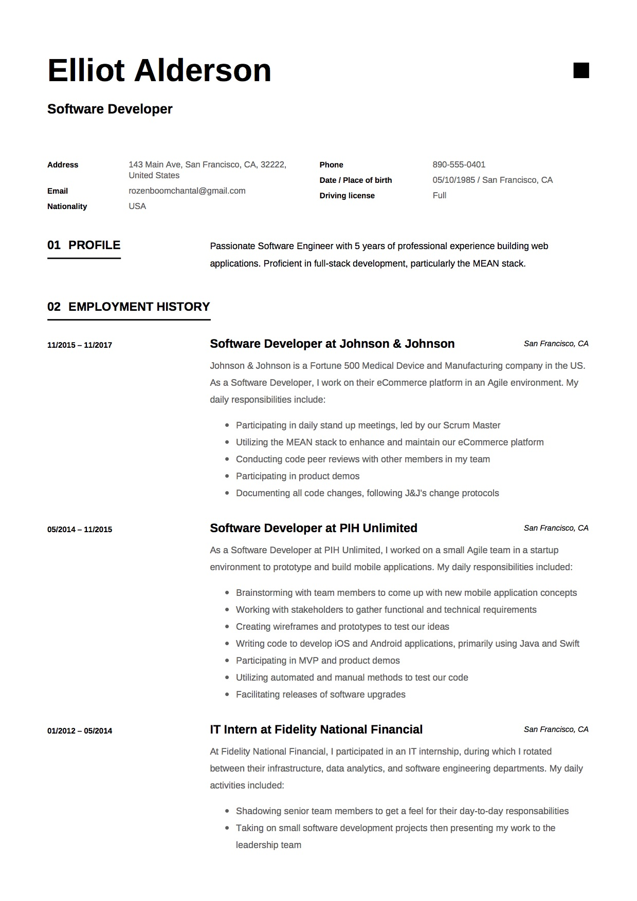 software developer resume template entry level software engineer