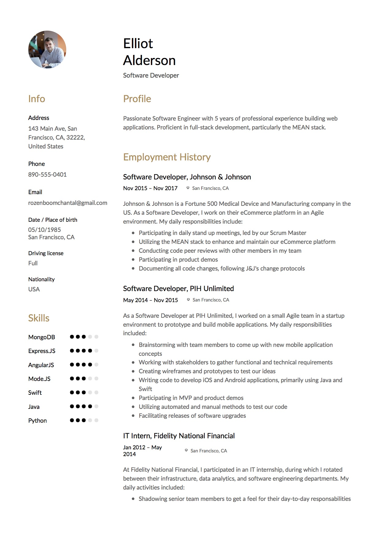 resume for software developer - Angularjs Developer Resume